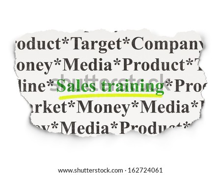 Marketing concept: torn newspaper with words Sales Training on Paper background, 3d render