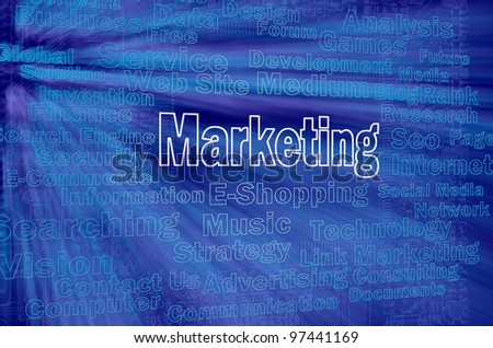 Marketing concept with internet related words - stock photo