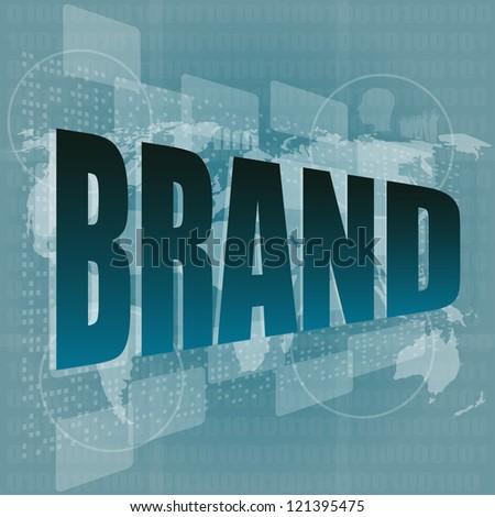 Marketing concept: words brand on digital screen, raster - stock photo