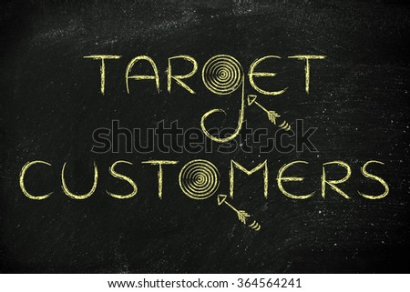 "marketing concepts: the word ""target customers"" with real targets and arrows"