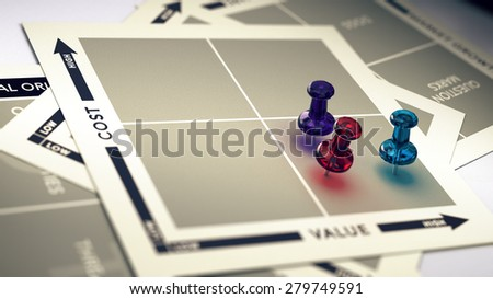 Marketing cost and value matrix with pushpins  and blur effect. Concept of ROI or high value product. - stock photo