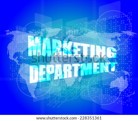 marketing department words on digital screen with world map - stock photo