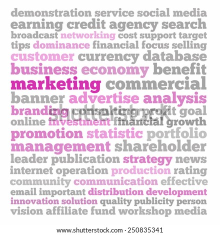 Marketing in words collage - stock photo