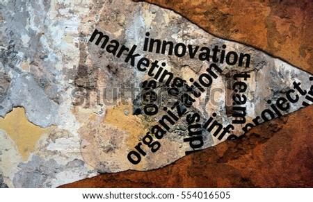 Marketing innovation text on wall