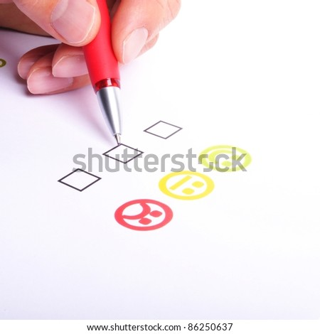 marketing interview with checkbox or tickbox and smilie - stock photo