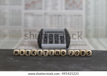 Marketing Jobs word built with wooden letters