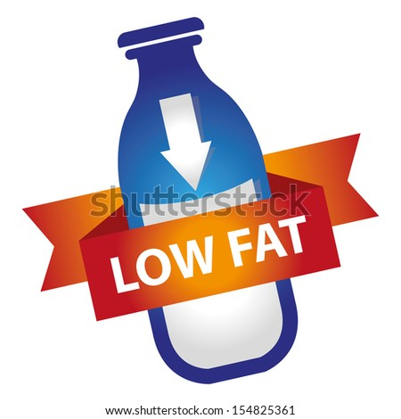 Marketing Materials For Healthy Food or Dietary Concept Present By Blue Bottle of Milk With Down Arrow Sign and Low Fat Ribbon Isolated on White Background  - stock photo