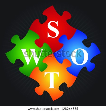 Marketing or Business Concept Present By Four Pieces of Colorful SWOT Puzzle in Black Shiny Background - stock photo