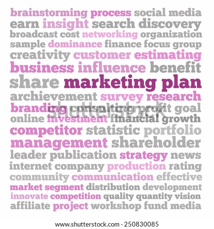 Marketing plan in words collage - stock photo