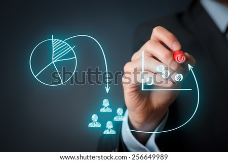 Marketing positioning and marketing strategy - segmentation, targeting, and positioning. Visualization of marketing marketing positioning.  - stock photo