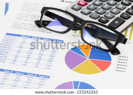Marketing report pie with chart graph analysis - stock photo