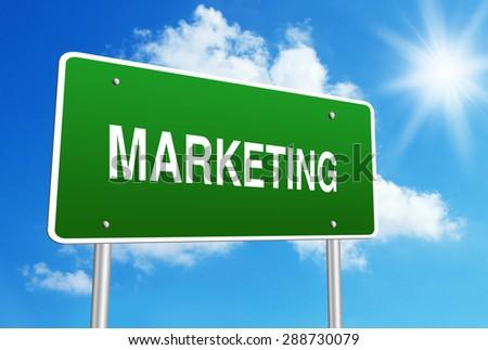 Marketing road sign with blue shiny sky background. - stock photo