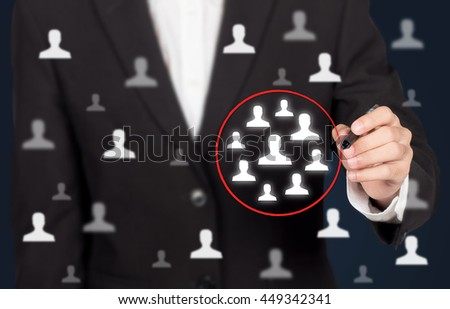 Marketing segmentation, customers care, customer relationship management (CRM) and team building concepts. - stock photo