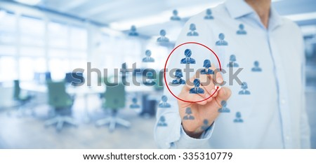 Marketing segmentation, target audience, customers care, customer relationship management (CRM), human resources, customer analysis and focus group concepts. Wide composition, office in background. - stock photo