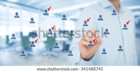 Marketing segmentation, target audience, customers care, customer relationship management (CRM), human resources and customer analysis concepts. Wide banner composition, office in background.