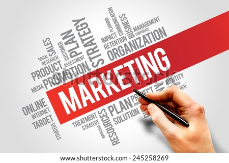 Marketing Strategy and Core Objectives of Product words cloud, business concept - stock photo
