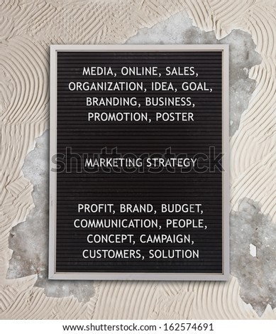Marketing strategy concept in plastic letters on very old menu board, vintage look