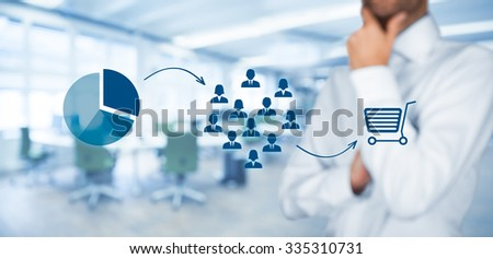 Marketing strategy - segmentation, targeting, and positioning. Visualization of marketing strategy process, office in background, wide banner composition.