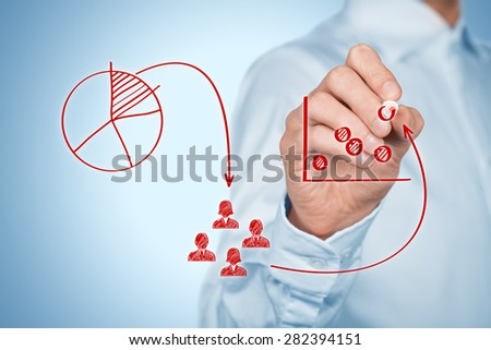 Marketing strategy - segmentation, targeting, market gap and positioning. Visualization of marketing strategy process.  - stock photo