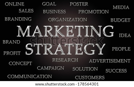 Marketing strategy word cloud written in luxurious chrome letters