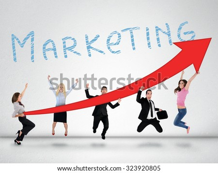 Marketing word and red arrow report growth statistics