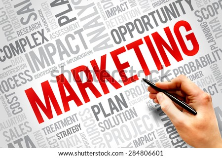 Marketing word cloud, business concept - stock photo