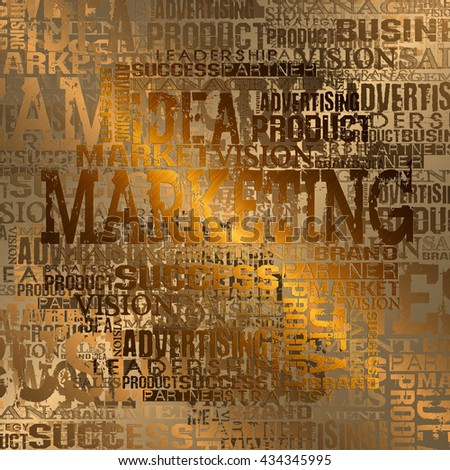 Marketing Word Cloud Concept Background.  Gold Style - stock photo