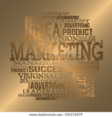 Marketing Word Cloud Concept. Gold Style - stock photo