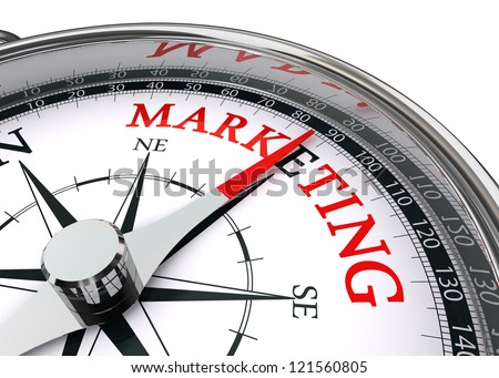 marketing word on conceptual compass isolated on white background - stock photo