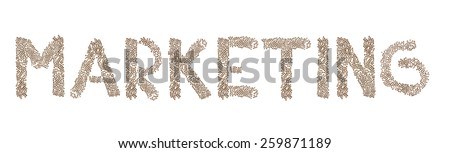 Marketing written in letters formed with wooden cubes with letters isolated on white background - stock photo