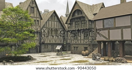 Marketplace in the centre of a Medieval or fantasy style town with church spire and castle towers behind, 3d digitally rendered illustration - stock photo