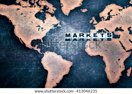 MARKETS on grunge world map