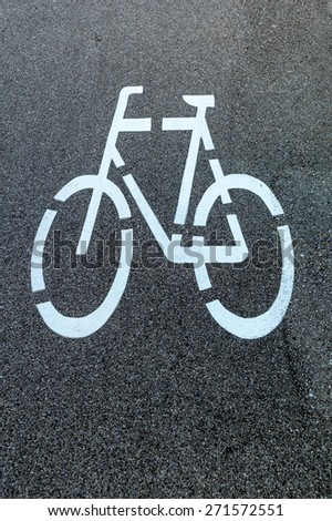 marking a bike trail in linz, austria, safety and traffic control - stock photo