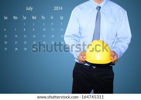 marking  day on July 2014 calendar  - stock photo