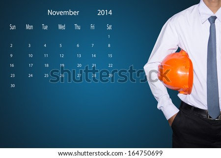 marking day on the November 2014 calendar. - stock photo