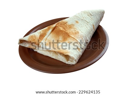 Markook - flatbread common in the countries of the Levant.Yufka is a Turkish bread. It is a thin, round, and unleavened flat bread similar to lavash - stock photo