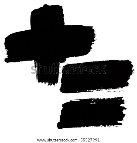 Marks - Black ink numbers over the white background - stock photo