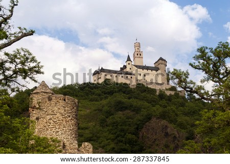 Marksburg Castle at the River Rhine in Germany - stock photo