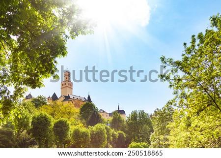 Marksburg castle on sunny day, Germany - stock photo