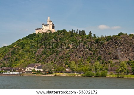 Marksburg in famous rhine valley - stock photo