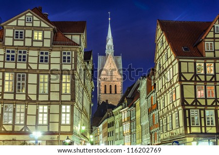 Marktkirche (Marketplace Church) and old half-timbered houses of Hannover, Germany
