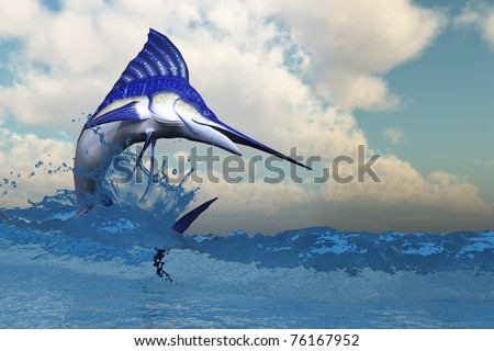 MARLIN - A blue Marlin shows off his beautiful colors when bursting from the ocean.