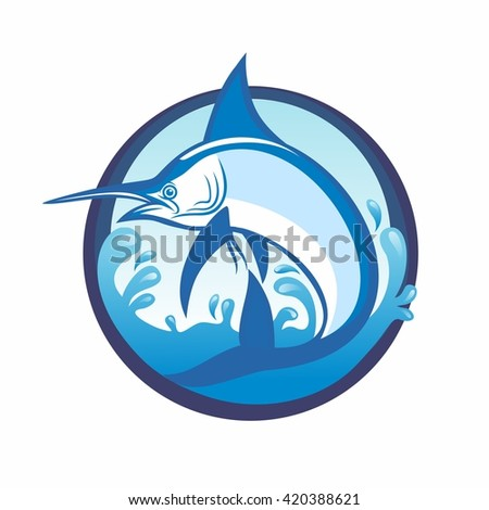 Marlin fish with splash of sea water illustration