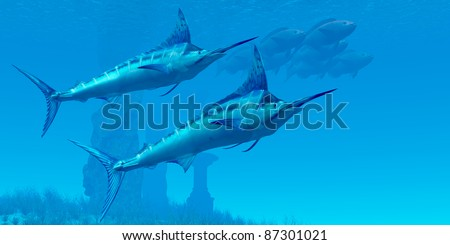 Marlin 02 - Two sleek Blue Marlins swim close to a school of fish near some ocean ruins. - stock photo