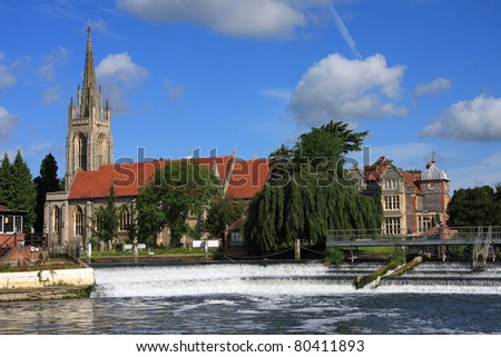 Marlow Church across the River Thames - stock photo
