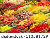 Marmalade candies store at the La Boqueria market in Barcelona. Shallow dof. - stock photo