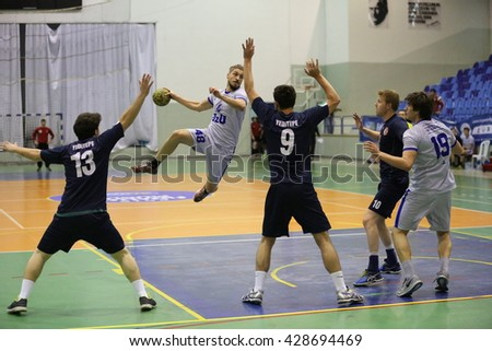 Marmaris, Turkey - May 05, 2016 : Handball players are playing during the Unilig University summer competitions on May 05, 2016 in Marmaris, Turkey. - stock photo