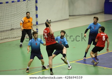 Marmaris, Turkey - May 05, 2016 : Handball players are playing during the Unilig University summer competitions on May 05, 2016 in Marmaris, Turkey.