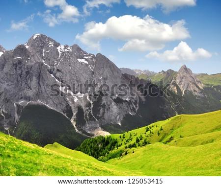Marmolada peak,Val di Fassa - Italy Alps - stock photo