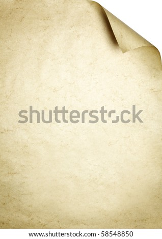 Marmorate brown sheet of paper as writing background with dog-ear. - stock photo